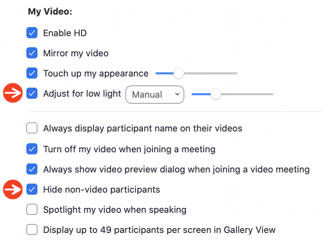 Screen Shot of Zoom Video Settings